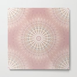 Rose Geometric Mandala Metal Print