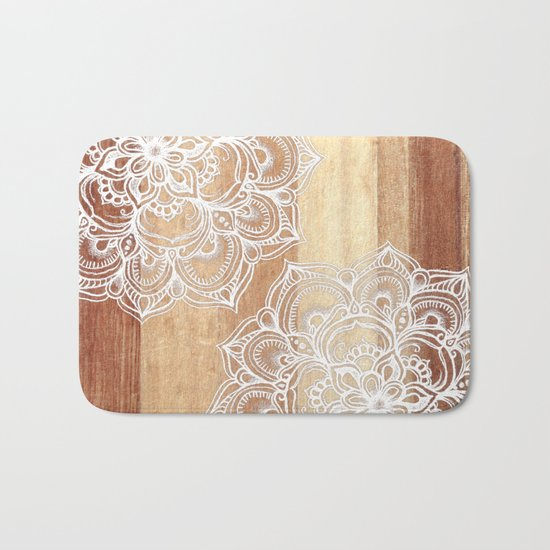 White doodles on blonde wood - neutral / nude colors Bath Mat