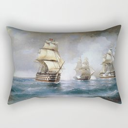Aivasovsky Ivan - Brig Mercury Attacked By Two Turkish Ships 1892 Rectangular Pillow