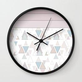 Geometric pattern , pastel triangles Wall Clock
