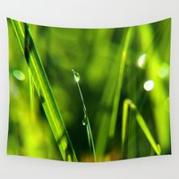 biology Wall Tapestries featuring Dew on grass at early backlight by UtArt