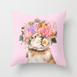 Rabbit with Flowers Crown Throw Pillow