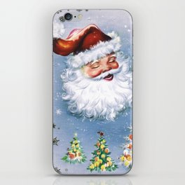Santa Claus with christmas trees iPhone Skin