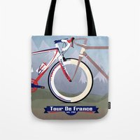 tour de france Tote Bags featuring Tour De France by Wyatt Design