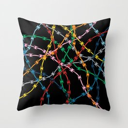 Trapped on Black Throw Pillow
