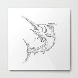 Atlantic Blue Marlin Doodle Metal Print