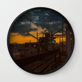 Tokyo Nights / Sunset over Fuji / Liam Wong Wall Clock