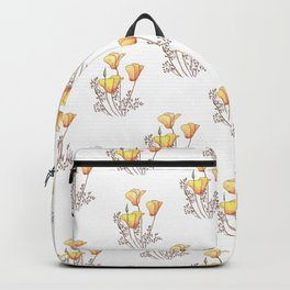 California Poppies, Watercolor Poppy Surface Pattern Design Backpack