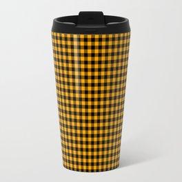 Mini Orange and Black Cowboy Buffalo Check Travel Mug