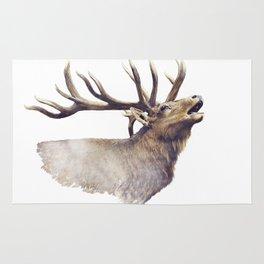 Bull Elk portrait watercolor on white background Rug