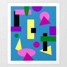 Geometry Shapes on Blue Art Print