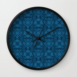 Blue patchwork 2 Wall Clock