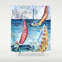racing Shower Curtains featuring Boat Racing by Kristen Dahms