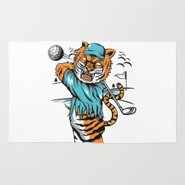 Tiger golfer WITH cap Rug