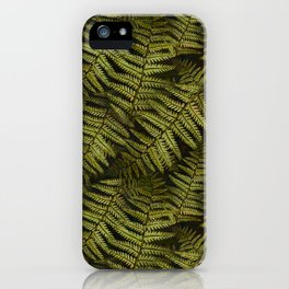 Among the ferns in the forest (military green) iPhone Case