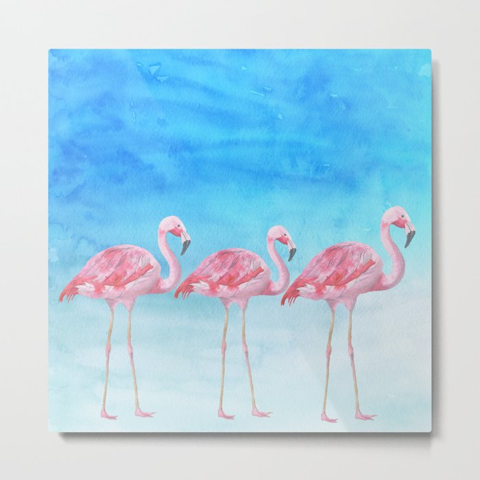 Flamingo bird summer lagune - watercolor illustration Metal Print