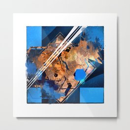 Abstraction, Orange and Blue Metal Print