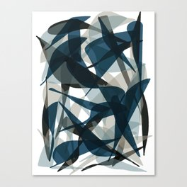 Abstract Whale Monotone Canvas Print