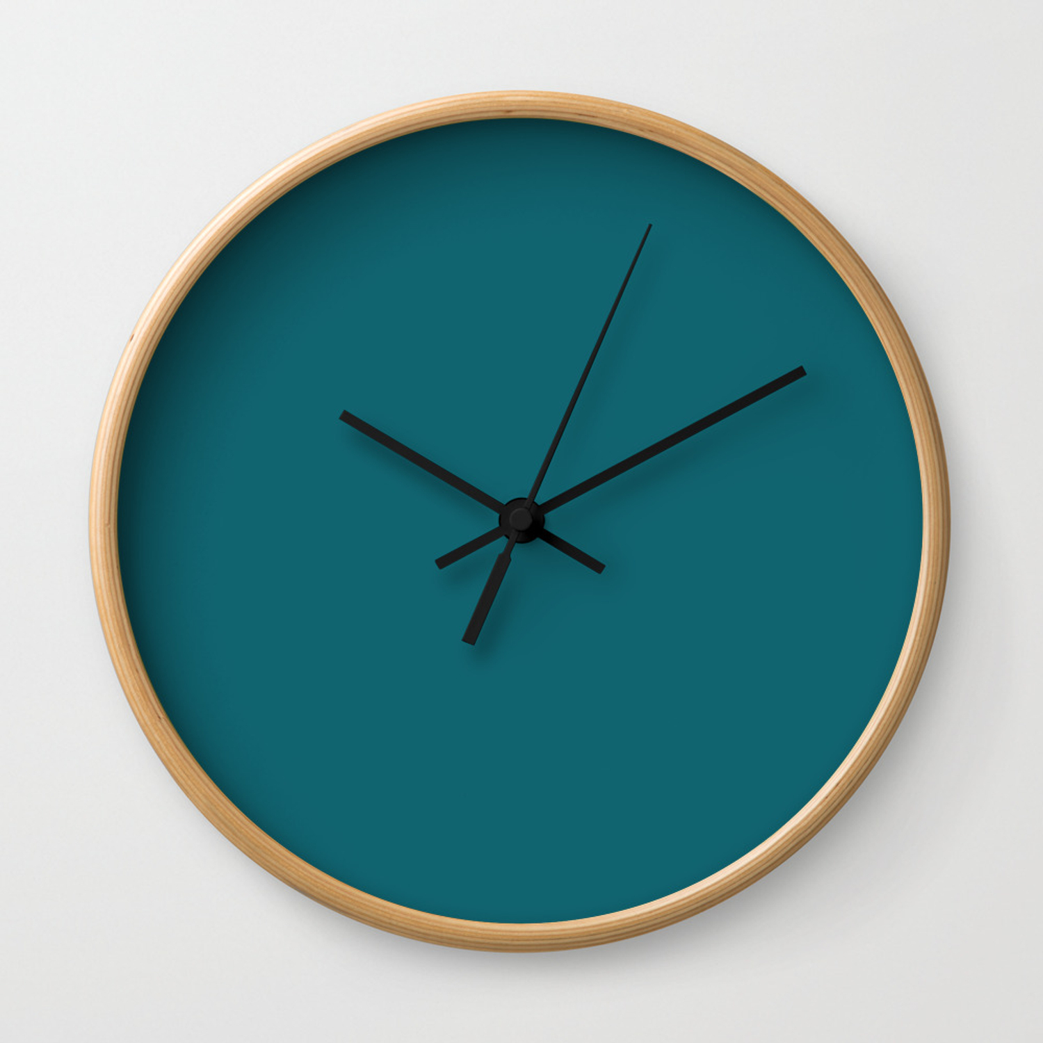 Clear Day Ocean Blue Solid Colour Palette Matte Wall Clock by sharonmau