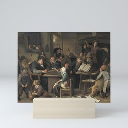 Jan Steen - A Riotous Schoolroom with a Snoozing Schoolmaster Mini Art Print