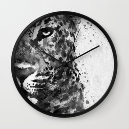 Black And White Half Faced Leopard Wall Clock