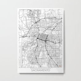 Sacramento Map White Metal Print