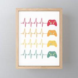 Vintage Retro Gamer Video Game Player Heartbeat Framed Mini Art Print
