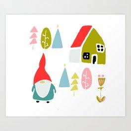 Christmas gnome Art Print