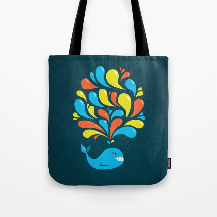 Dark Colorful Happy Cartoon Whale Tote Bag