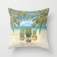 relax Throw Pillows featuring relax by ulas okuyucu