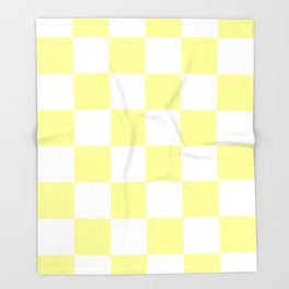 Large Checkered - White and Pastel Yellow Throw Blanket