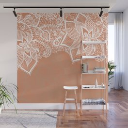 Modern hand drawn floral lace color copper tan roast illustration pattern Wall Mural