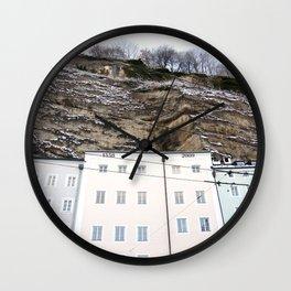Pastel Buildings in Salzburg, Austria Wall Clock