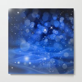 Whimsical Blue Glowing Christmas Sparkles Festive Holiday Art Metal Print