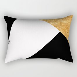 Corners in Black White Gold Rectangular Pillow