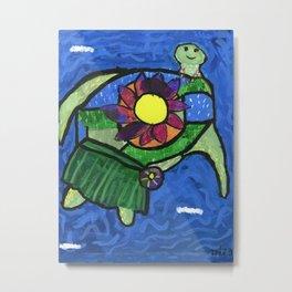 Pizzazz Hula Turtle Metal Print