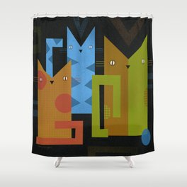 CAT GEOMETRICS Shower Curtain