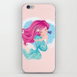Cute mermaid illustration iPhone Skin