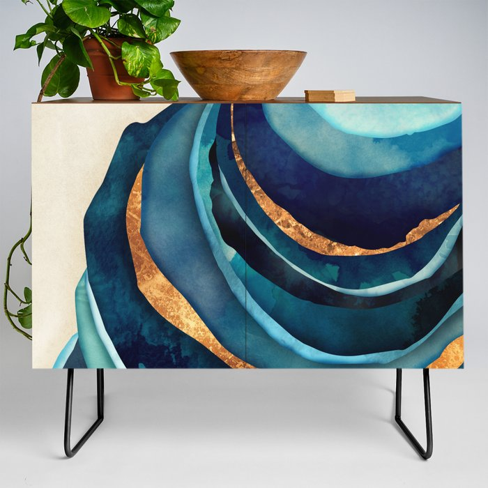 Abstract_Blue_with_Gold_Credenza_by_SpaceFrogDesigns__Black__Walnut