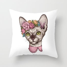 Hand drawn portrait of cute Sphinx cat with a wreath on head Throw Pillow