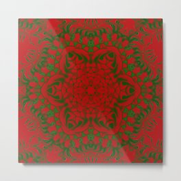 Red and Green Kaleidoscope Metal Print