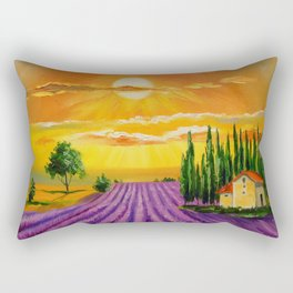 Lavender field at sunset Rectangular Pillow
