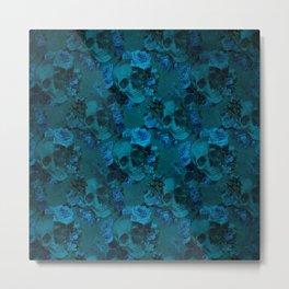 Blue Floral Skulls Metal Print