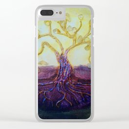 Citrine Tree in Yellow & Purple Clear iPhone Case