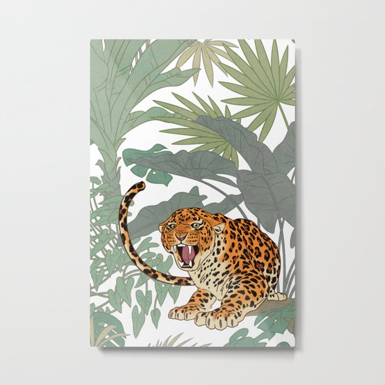 Leopards in the jungle pattern. Metal Print