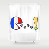 world cup Shower Curtains featuring Frace World Cup 2014 by onejyoo
