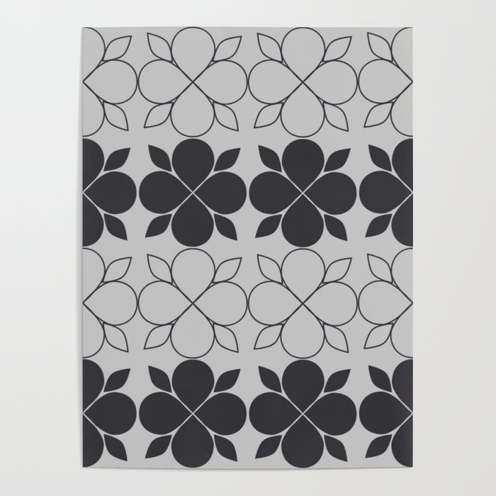 Black and Grey Flower Tile Poster