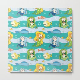 Pattern with mermaids. Metal Print