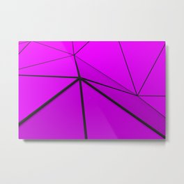 Violet low poly displaced surface with black lines Metal Print