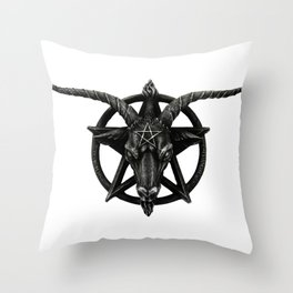Baphomet Satanic Church Goat Head Throw Pillow